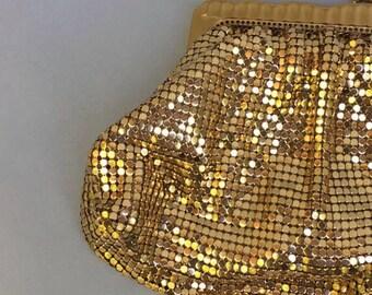 70s disco gold chain mail gold evening clutch purse