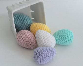 Set of 6 Spring Easter Eggs, Crochet Easter Basket Decorations. Rustic Easter Decor, Easter Party Decor.