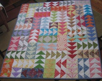 Colorful Flying Geese Quilt, Scrap Quilt, Modern Quilt, Contemporary Quilt, Triangle Quilt, OOAK quilt, ready to ship