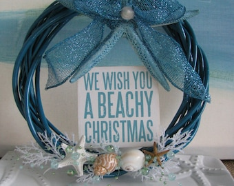 Seashell Christmas Wreath~Starfish Christmas Wreath~We Wish You A Beachy Christmas Blue Wreath~Coastal Beach Christmas Wreath