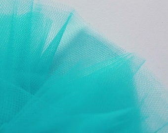 Bright Turquoise Aqua Fine Tulle fabric 300cm wide - sold by the metre - net suitable for underskirt, veil, pleating & ruching UK SELLER