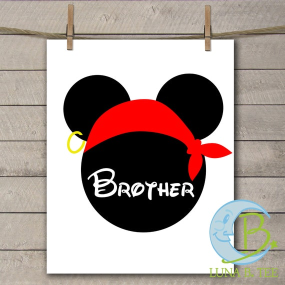 INSTANT DOWNLOAD Disney Family Vacation Cruise Pirate Night Brother Shirts Printable DIY Iron On to Tee T-Shirt Transfer - Digital File