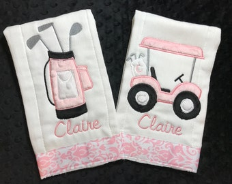 Pink Golf Cart and Golf Bag Burp Set