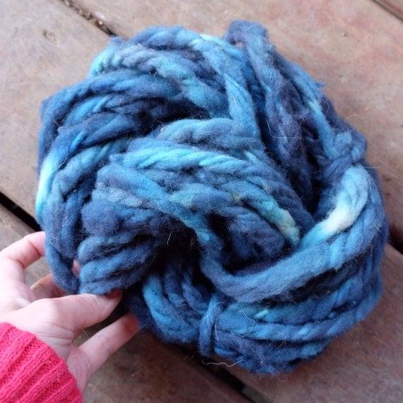 Super Chunky Yarn Blue Hand Spun Yarn 100 Wool From