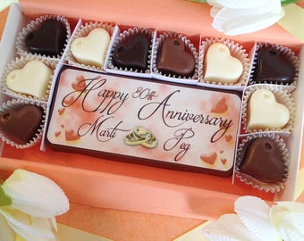 Happy Anniversary Chocolate Gift - Personalized Anniversary Present - Anniversary Celebration Gift