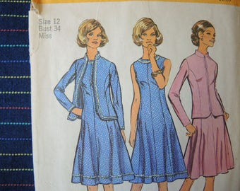 vintage 1970s simplicity sewing pattern 5476 misses princess seamed dress and unlined jacket size 12