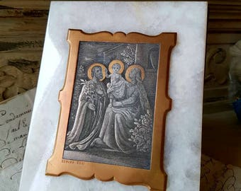Stunning Antique French Religious Bronze & Silver Plaque Depicting Mary,Joseph and Baby Jesus on Onyx with Brass Backplate,Signed REBERG
