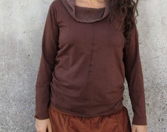 Brown top for her~ Festival clothing ~ Long sleeve shirt ~ Tribal ~ Woodland ~ Earthy clothes ~ Netting cowl neck top