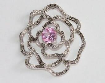 Sadye L Vassil SLV 925 Brooch Wavy Abstract Flower Pink Stone Pin 1990's