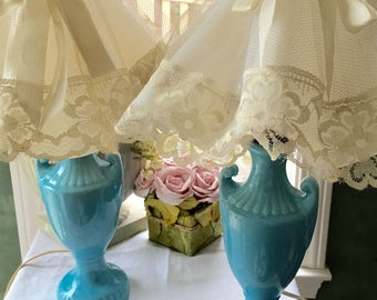 Gorgeous Pair Of Vintage French Blue Crramic Lamps with Original Clip On Lace Shades Shabby Chic Lamps Aqua Blue  Ceramic Lamps