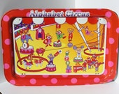 vintage ALPHABET CIRCUS TRAY--fold out legs-- serving tray, tv tray, laptop table, lap tray (1960s)