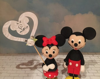 Polymer clay Mickey and Minnie cake topper,handmade,birthday,weddings,party