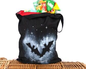 Market bag, grosery bag, shopping bag ZIP closing, reusable cotton tote, market eco bag, canvas hand painted tote owl