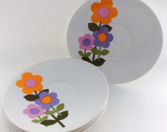Vintage 'Dolly Days'- Floral Hostess Tableware by John Russell-MOD FLOWERS- Saucer-1960's Mid Century Retro-Bone China