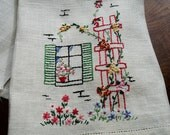 """Linen Tea Towel, Embroidered tea towel, Hand embroidered towel, Kitchen towel, Vintage towel, Linen, cottage chic, Country decor, 21.5x13"""""""