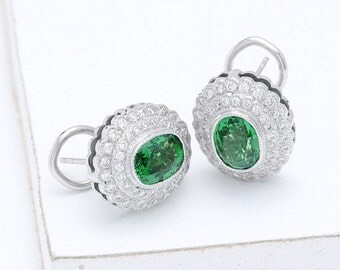 Tsavorite Green Garnet & Diamond Cluster Earrings 18K White, Yellow or Pink/ Rose Gold (4.8ct tw) : sku 544-18K