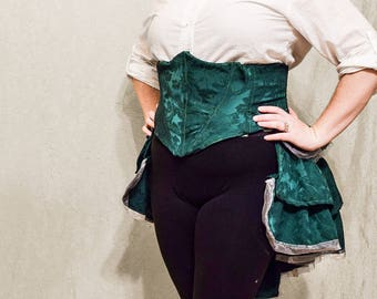 Emerald Corset and Bustle Set from repurposed material