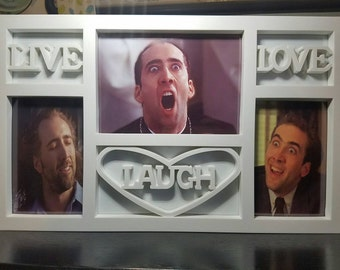 SALE! Live Love Laugh Nic Cage Picture Frame - Funny Gift - You Dont Say Meme