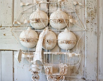 Metal flying machine hot air balloon wall sculpture shabby cottage chic ornate white embellished steampunk ship decor anita spero design