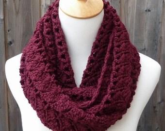 ON SALE - Burgundy Infinity Scarf - Dark Merlot Infinity Scarf - Crochet Infinity Scarf - Circle Scarf - Ready to Ship