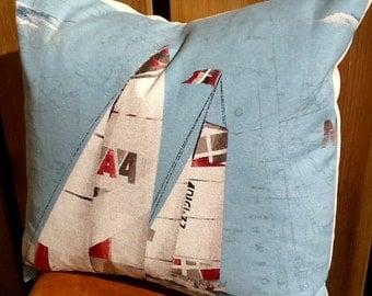 Nautical sailboats pillow cover decorative pillow coastal decor