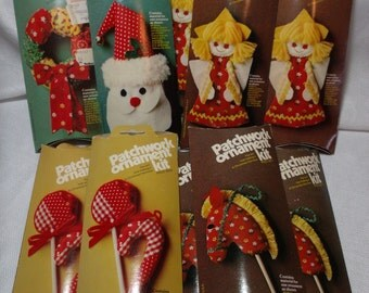 Vintage Patchwork Christmas Ornament Kit, Lot of 11 New