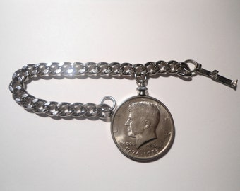 "1 Silverplated 6-1/2"" Kennedy Half Dollar Bracelet"