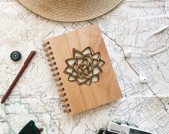 Mint Green Succulent Wood Journal [Wood Laser Cut Notebook / Journal for Her / Journal for Kids]