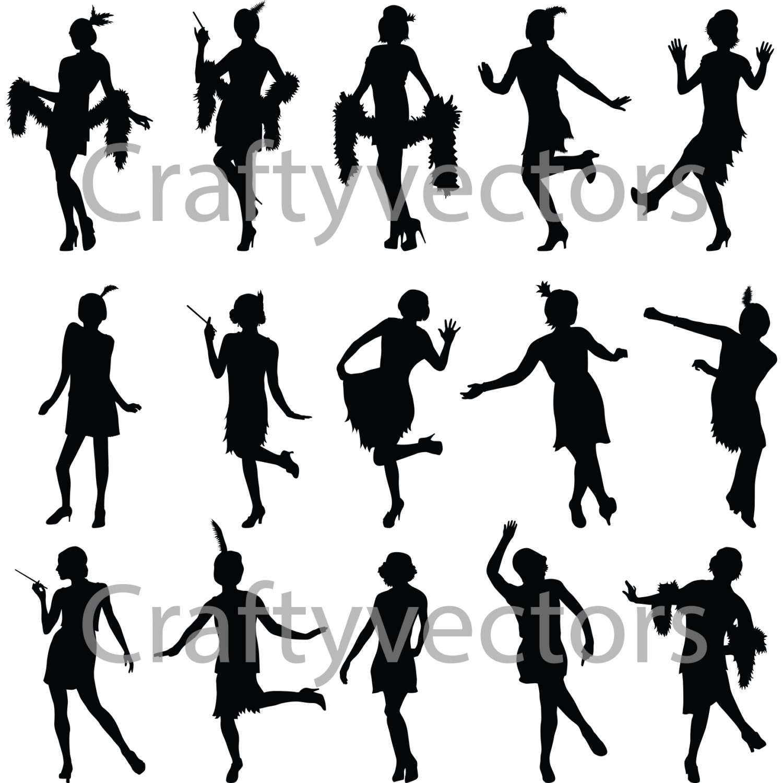 Flapper Girls Silhouette Vector File