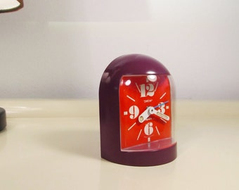 Vintage German Alarm Clock PETER Apollo Alarm Clock from the 70s Home Decor Vintage Purple and Red Color Alarm Clock Mechanical movement