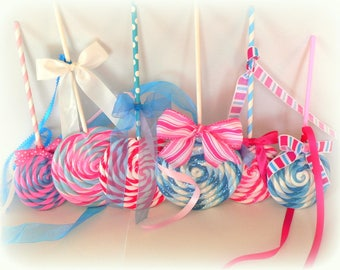 Large Faux Lollipops Hanging Swirl Fake Lollipops Pink and Blue Colors Ornaments