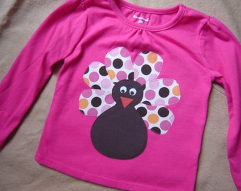 Ready to Ship - One of a Kind - 24M Dark Pink Long-Sleeved Turkey Shirt - Polka Dots - Girl - Thanksgiving