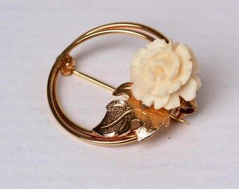 Vintage Gold and Floral Carved White Lucite Pin