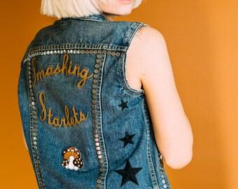 vintage Marc Jacobs 90s patched denim vest | xs small | the smashing starlet vest