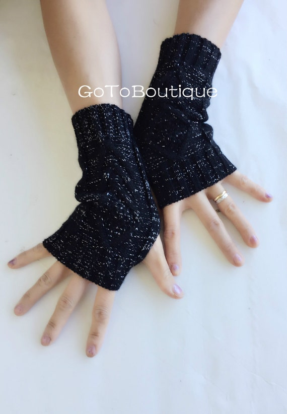 Black Fingerless Gloves Womens Arm Warmers-Winter Arm