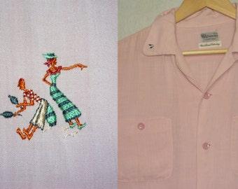 1950s Shirt / L - XL / Pink / Rayon / Rockabilly / Caribbean Dancer / Loop Collar / Vintage 1950s Mens Clothing / 50s Pink Shirt / Elvis