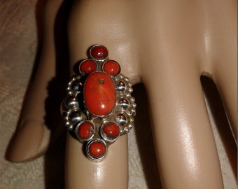 Gorgeous Coral Ring Vintage Sterling Silver Size 7