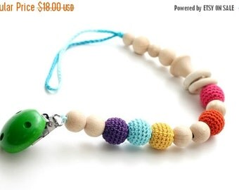 Christmas Sale Baby dummy chain Pacifier clip, Crochet wooden rattle holder, stroller dummy chain, Rainbow Teething wooden baby toy