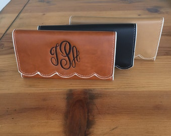 Monogrammed Scallop Trifold Wallet Womens Wallet Personalized Camel Brown