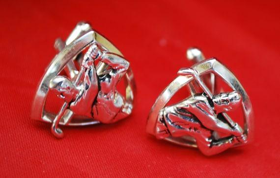 Golfer cuff link - Signed Hickok - silver tone - Mid century - Golf Swinger - Mens cufflinks