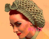 Almost FREE Vintage Quick Net Snood with Bow 1132 PDF Digital Crochet Pattern