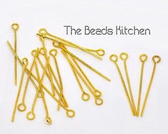 3cm Shiny Yellow Gold Plated Eye Pins Hypoallergenic Findings Jewelry Supply DIY *Bulk Discount* 20pcs 50pcs 100pcs