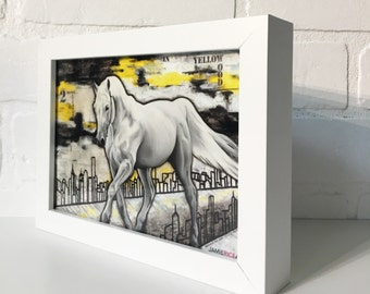 "White Horse - 5""x7"" Art Print by Jamie Rice-Desk art,  Wall decor. Framed or Unframed"