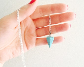Turquoise geometric pendant necklace sterling silver chain