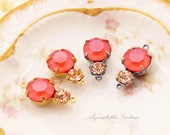 Swarovski Matte Coral and Peach Rhinestone Double Set Drop or Connector 16x9mm Brass, Matte Black or Antique Silver Settings - 2