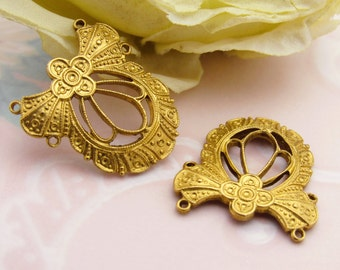 Elegant Raw Brass Art Deco 4 Ring Connector Finding Pendant Stamping - 2