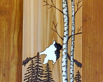 Woodburning Art, Pyrography, Mountains, Pine, Birch Trees, Landscape, Abstract
