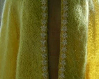 "Vintage Mohair Cardigan  - ""Tiptoe Through the Daisies"" - SALE"