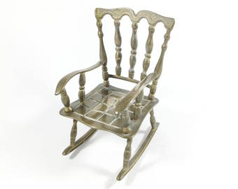 Vintage brass rocking chair, Dolls chair, Solid brass ornament