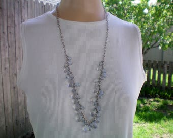 Clear briolette long fringe necklace, Recycled jewelry, Handmade jewelry, Repurposed jewerly,Upcycled,Free USA shipping,Made in USA/Michigan